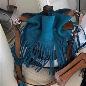 burberry fringe purse- turquoise